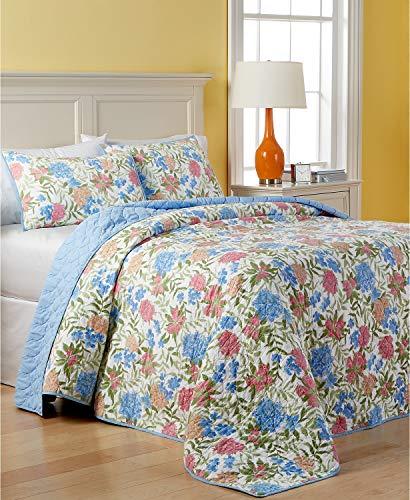 Martha Stewart Collection Cotton Gramercy Garden Reversible Quilted King Bedspread ()