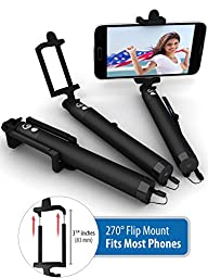Premium 5-In-1 Bluetooth Selfie Stick (Powered by USA Technology) For iPhone 7, 6, 5, Samsung Galaxy S8, S7, S6, S5 - Get Perfect Selfies - No Apps, No Batteries, No Downloads Required