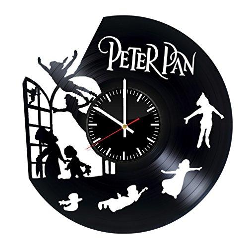StoreForMore Peter Pan Walt Disney Vinyl Clock - Vinyl Records Wall Art Handmade Decor - Original Vintage Gift for Fans