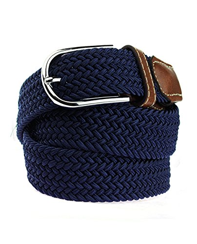 NYfashion101 Rounded Metal Buckle Brown Inlay Elastic Braided Woven Stretch Belt, Navy (Full Metal Buckle)