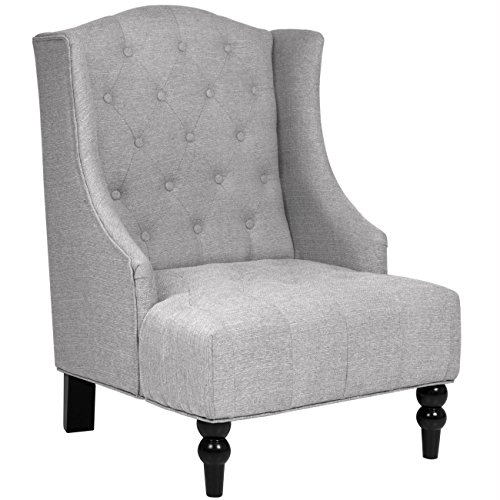 Best Choice Products French Style Tall Wingback Tufted Fabric Accent Chair Home Decor w/Wooden Legs - Gray