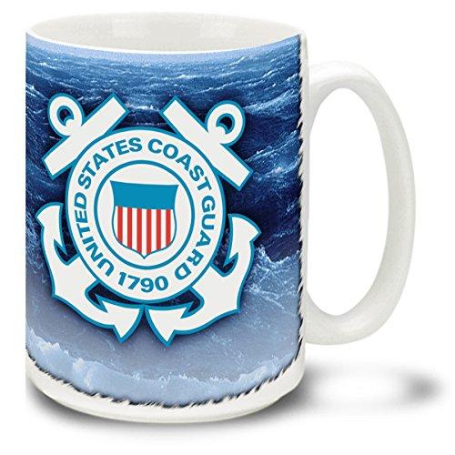Coast Mug Guard (U.S. Coast Guard Crest on Open Seas 15 Ounce Coffee Mug)