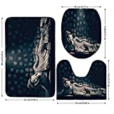 3 Piece Bathroom Mat Set,Asian-Decor,Antique-Carved-Wooden-Sacred-in-Temple-Laying-Posture-Zen-Asian-Mystic-Art-Wall-Home,Grey.jpg,Bath Mat,Bathroom Carpet Rug,Non-Slip