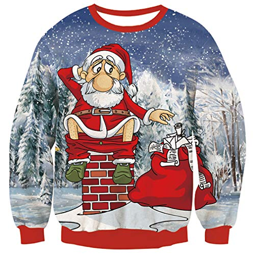 TUONROAD Custom Prints Ugly Christmas Sweater Inappropriate Patterned Santa Snowy Forest Long...