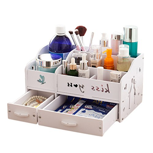 Cheap Large Capacity Cosmetic Storage Box, Creative DIY Desktop Finishing Box Drawer Type Skin Care Rack (Color : White) for cheap