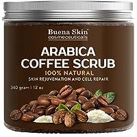 Exfoliación 100% natural con café arábica, el mejor tratamiento de estrías, acné y anticelulitis, ayuda a reducir las venas de araña, eczema, manchas de la edad y venas varicosas - 12 oz