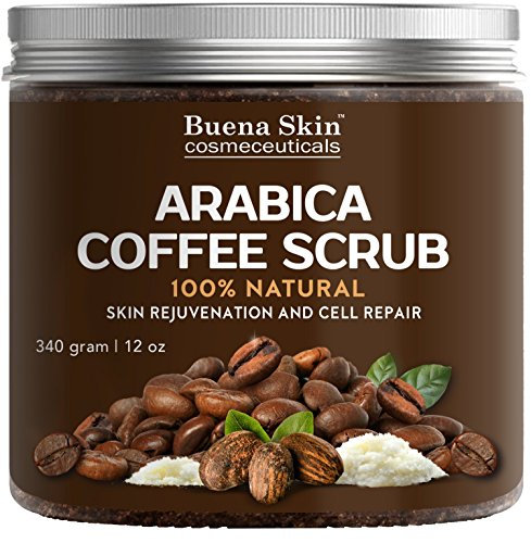 100% Natural Arabica Coffee Scrub by Buena Skin | Organic Coffee, Coconut and Shea Butter, Powerful Remedy For Cellulite, Stretch Marks, Varicose Veins, Eczema and Acne 12 oz