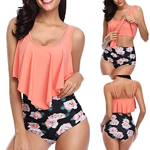 Yalasga Swimsuit for Women Two Piece Bathing Suit Top Ruffled Bottom High Waisted Bikini Set Tankini