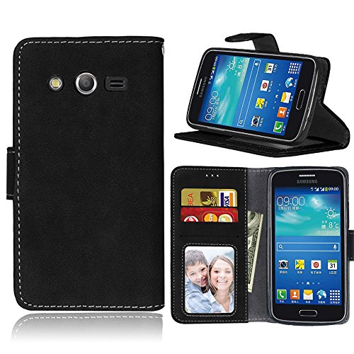 Samsung Galaxy Avant (SM-G386T) Case, Samsung Galaxy Core LTE 4G (SM-G386F) Case, KAIDON [Model: 58#] PU Leather Cover and Soft TPU Inner Holder Flip Stand Wallet Case (Black) (Case Samsung Avant Phone Wallet)