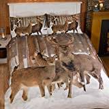 Winter Stag Single/US Twin Duvet Cover and Pillowcase Set