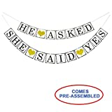 He Asked She Said Yes Gold Glitter Banner - Engagement Bridal Shower Party