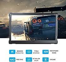 Monitor de juegos G-STORY de 15,6 pulgadas UHD 4K 2160P, portátil con la tecnología Eye-Care (protección para los ojos) para PS4, Xbox One (no se incluye) con FreeSync, tipo C, cable HDMI: