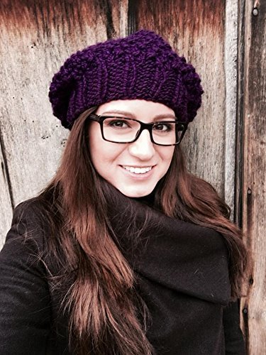 Knitted beret, slouchy beanie in eggplant