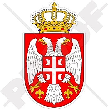 9/'/' 12/'/' or 14/'/' Serbia Coat Of Arms Glossy Car Bumper Sticker Decal