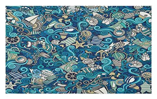 (Lunarable Abstract Doormat, Nautical Elements Compass Helm Ship Boat Waves Marine Sea Fishing Coast, Decorative Polyester Floor Mat with Non-Skid Backing, 30 W X 18 L Inches, Turquoise Blue)
