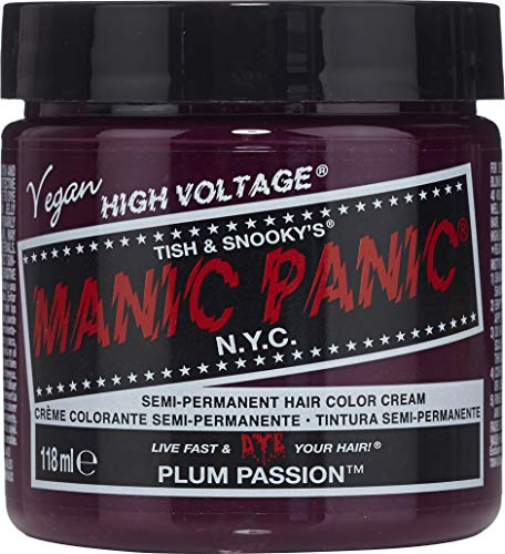 (Manic Panic Plum Passion Purple Hair Color Cream – Classic High Voltage Semi-Permanent Hair Dye - Vivid, Purple Shade - For Dark, Light Hair – Vegan, PPD & Ammonia-Free - Ready-to-Use, N-Mix Coloring)