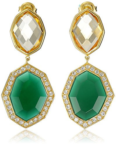 18K Yellow Gold over  Sterling Silver, Citrine, Green Agate, and Created White Sapphire Dangle Earrings - Gold Over Silver Green