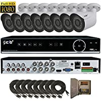 CIB True Full HD 8CH 1920TVL 1080P Recording and Display DVR system with 2TB HDD and 8x2.1Megapixel Vandal Dome Bullet Network Remote Viewing -- H80P08K2T56W-8KIT