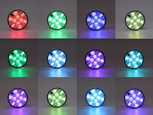 Submersible LED Light, 10-LED RGB Waterproof Battery Powered Lights with IR Remote Controller for Aquarium, Vase Base, Pond, Swimming Pool, Garden, Party, Weeding, Christmas, Halloween,2 Pack -