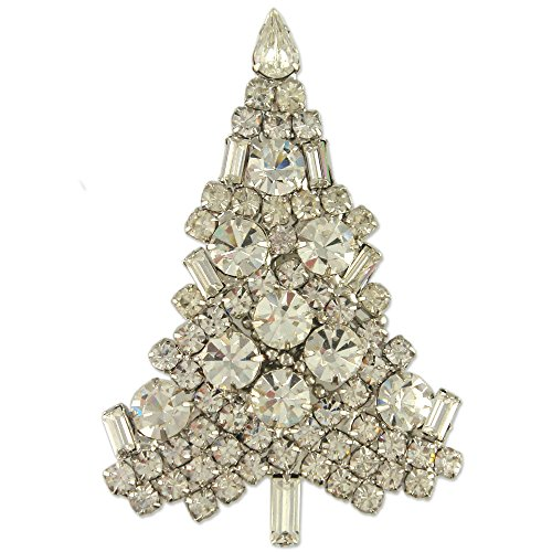 Swarovski Brooch Tree Christmas (NEW CLASSIC CRYSTAL CHRISTMAS TREE BROOCH PIN MADE WITH SWAROVSKI ELEMENTS (rhodium-plated-base-metal))