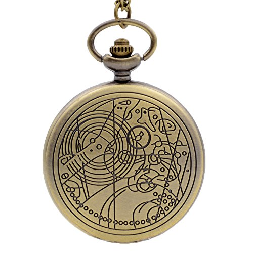 Doctor Who Bronze Golden Dial Vintage Mens Womens Quartz Pocket Watch Necklace Chain Watch P063 ()