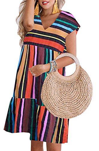 ETCYY Women's Summer V Neck Short Sleeve Rainbow Striped Printed Beach Dress T-Shirt Dresses Rainbow-L