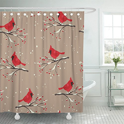 - Emvency Shower Curtain Print 66x72 Cardinal Bird Beautiful Winter Sitting on the Snowy Branch with Berries For Bathroom