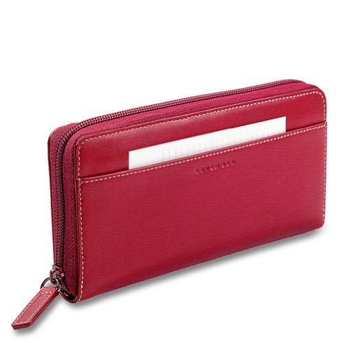 - Levenger Accordion Wallet W/Walletini Pen - Red