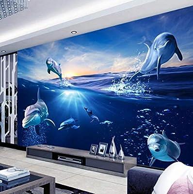 Fondo De Pantalla 3Dmural De Dibujos Animados Sunrise Dolphin Out Of The Water Photo Wall Paper Para Niños Dormitorio Tv Background @ 300 * 210: Amazon.es: Bricolaje y herramientas