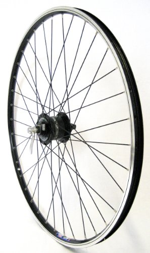 28 Zoll Fahrrad Laufrad Vorderrad Hohlkammerfelge Shimano Nabendynamo DH3N30 schwarz für V-Brakes / Felgenbremse