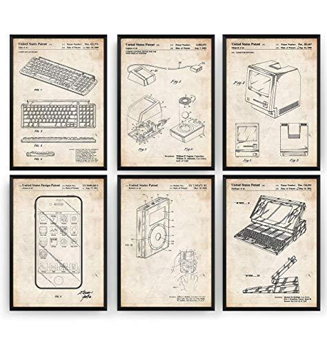 Steve Jobs Invention Set Of 6 Patent Prints – Technology Poster Inventor Gift Blueprint Retro Wall Art Original Decor…