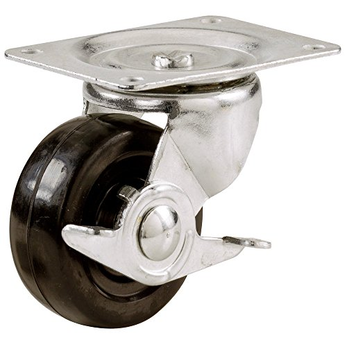 - Shepherd Hardware 9510 2-1/2-Inch Soft Rubber Swivel Plate Caster with Side Brake, 100-lb Load Capacity
