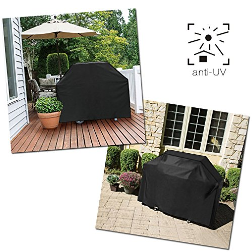Xcellent Global BBQ Grill Cover 57inch Sun Protection Waterproof Outdoor with Ajustable Hem Cord Black HG173