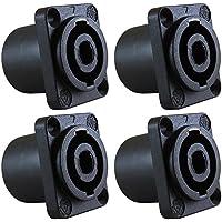 GLS Audio Speaker Jack Twist Lock 4 Pole Square (Rectangle) - Compatible with Neutrik Speakon NL4MP, NL4MPR, NL4FC, NL4FX, NLT4X, NL4 Series, NL2FC, NL2, Speak-On - 4 PACK