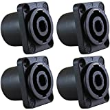 GLS Audio Speaker Jack Twist Lock 4 Pole Square (Rectangle) - Compatible with Neutrik Speakon NL4MP, NL4MPR, NL4FC, NL4FX, NLT4X, NL4 Series, NL2FC, NL2, Speak-On - 4 PACK
