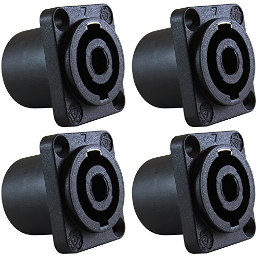 Speakon Connector - GLS Audio Speaker Jack Twist Lock 4 Pole Square (Rectangle) - Compatible with Neutrik Speakon NL4MP, NL4MPR, NL4FC, NL4FX, NLT4X, NL4 Series, NL2FC, NL2, Speak-On - 4 PACK