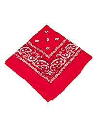 BOOLAVARD 1s, 6s, 9s or 12 Pack Cowboy Bandanas with Original Paisley Pattern (Red)