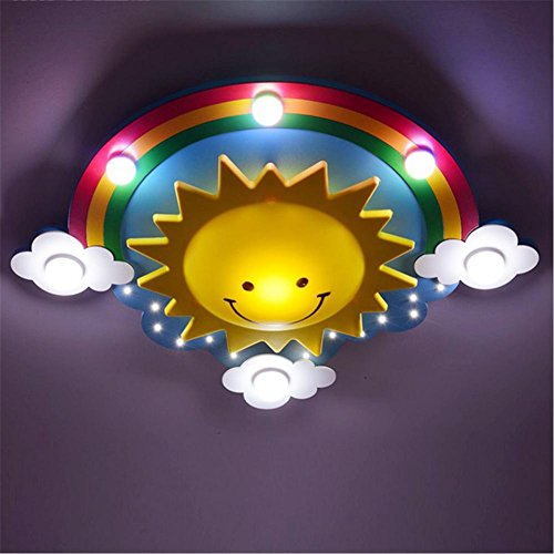 Oofay Led Children Room Ceiling Lamp Eye Protection Bedroom Lamp Boy Girl Star Rainbow Sun Cartoon Lamp   Led White Light   Remote Control