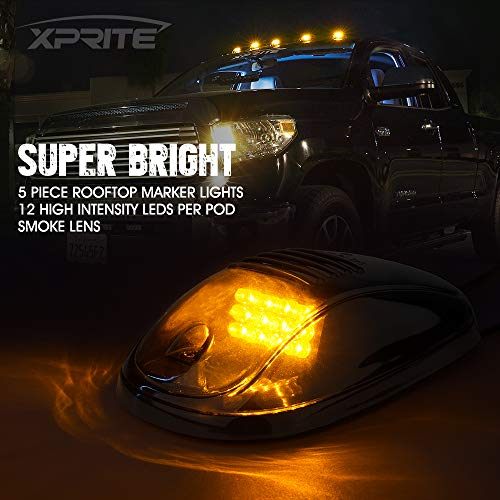 Xprite Newest Version 5pcs 12 LEDs Amber Yellow LED Cab Roof Top Marker Running Clearance Lights For Ford Dodge Truck SUV Pickup 4x4 (Black Smoked Lens)