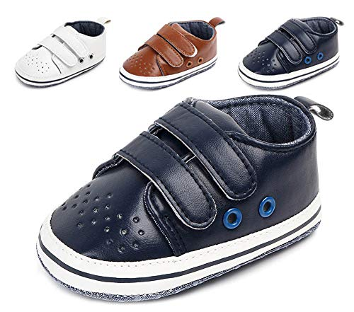 - Anrenity Baby Boys Girls First Walking Shoes 0-13 Months Infant Crib Fashion Sneakers,BBS-014 Deep Blue 0-6 Months