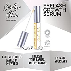Eyelash Growth Serum from Stellar Skin. Best enhancer for Long, Full, Thick Eyelashes and Brows. Natural conditioning treatment to boost lash growth. Made in the USA