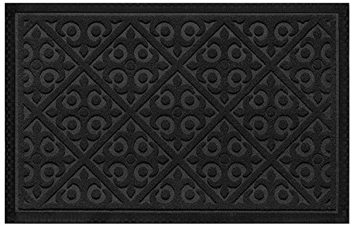 Elogio Door Mat Indoor Outdoor Doormats Outside Effective Scraping of Dirt Patio Grass Snow Dust Grit Removal Ideal Low Profile Doormat Front Door Entrance Mat Black Rug Non Slip Rubber ()