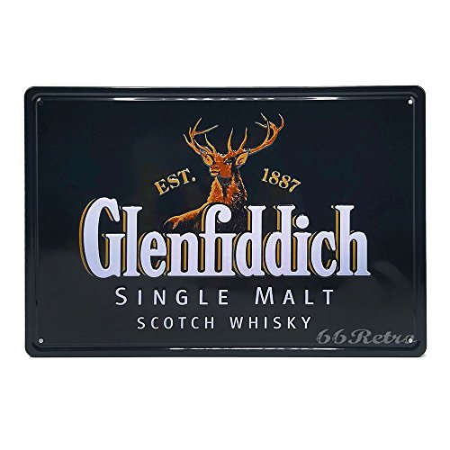 (66Retro Glenfiddich Single Malt Scotch Whisky, Retro Embossed Metal Tin Sign, Wall Decorative Sign)