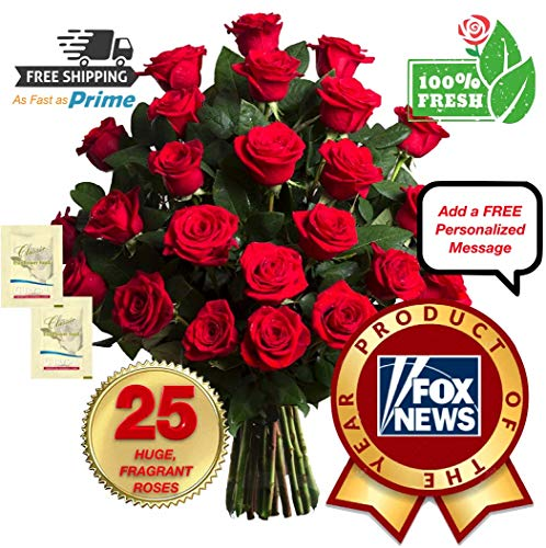 BEST-RATED Fresh Cut Flowers Bouquet, 25 GIANT FRAGRANT Red Roses, FAST-As-PRIME Delivery, LONGEST-LASTING & FRESHEST on Amazon, Includes 2 Flower Food Packets, No Vase