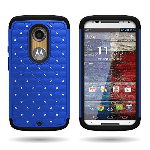 Motorola Moto X (2014) Hybrid Case (Blue / Black) Protective Diamond Bling Rhinestone Cover for Motorola Moto X XT1097 (2nd Generation, 2014)