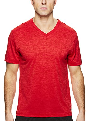 HEAD Men's V Neck Gym Training & Workout T-Shirt - Short Sleeve Activewear Top - Flash Primal Red Heather, ()