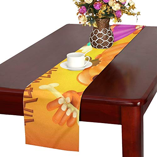 Happy Halloween Concept Card Pumpkin Scary Table Runner, Kitchen Dining Table Runner 16 X 72 Inch for Dinner Parties, Events, Decor
