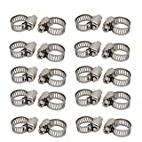 uxcell6-12mm Stainless Steel Adjustable Worm Gear Hose Clamps Silver Tone 20pcs