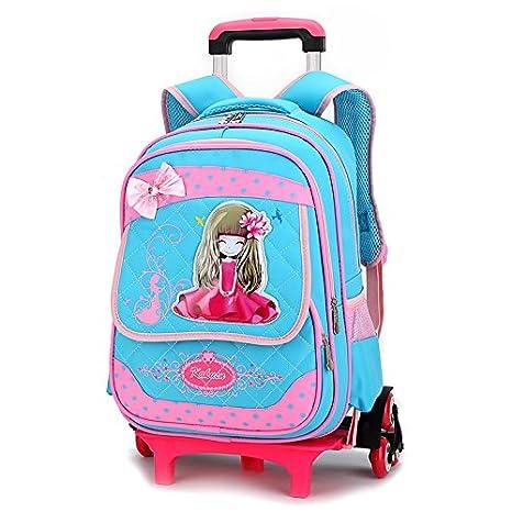 Nuevo MinegRong 2/6 ruedas niños caricatura mochilas escolares para niñas Moda Viajes bolsa trolley con ruedas mochila mochilas escolares Mochila,azul cielo ...