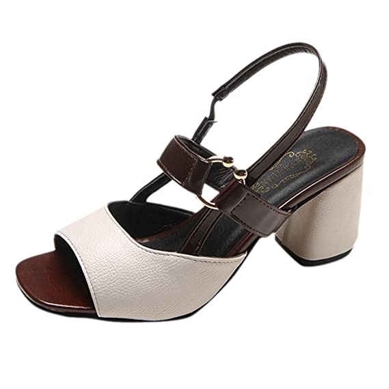 Amazon.com: Cewtolkar Women Sandals Fish Mouth Shoes Buckle Sandals Square Head Shoes Thick Heels Sandals Mid Heels Shoes: Clothing